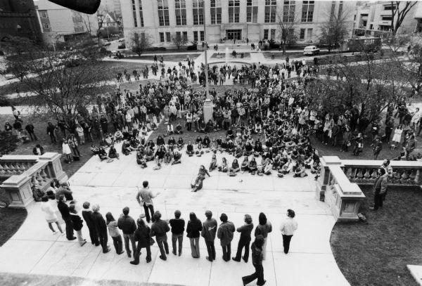 A croud of students at a protest on Library Mall at the UW-Madison Campus