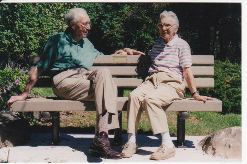 Ronny and Jerry Saeman at Westmorland Park Rock Garden Bench, 1999