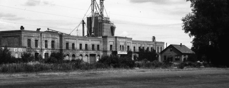 Garver Feed Mill exterior, 1980s
