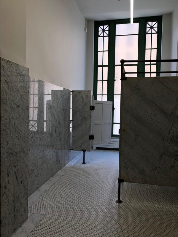 Photograph of women's bathroom, Municipal Restored, 2018