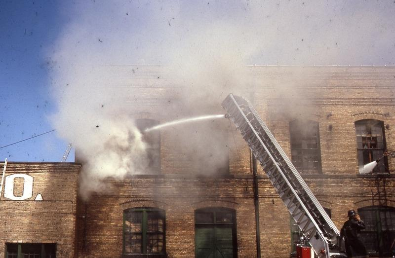 Fire at Garver Feed Mill, 1964