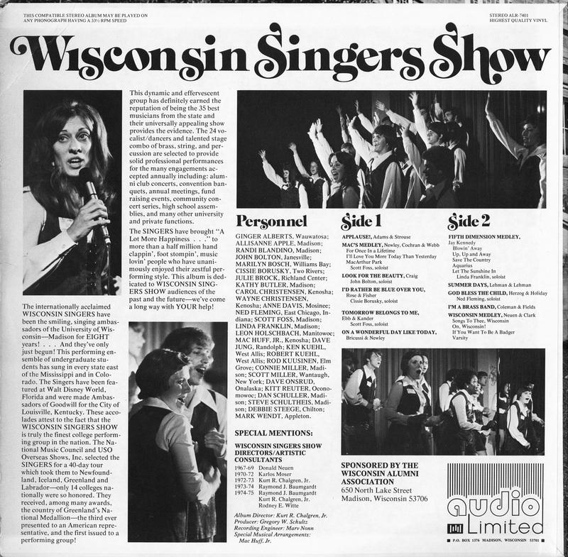 """Back cover for Wisconsin Singers album, """"Once in a Lifetime"""""""