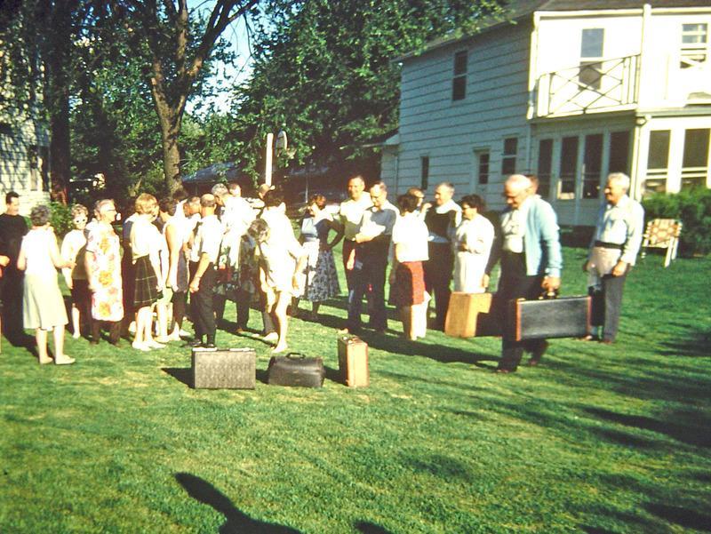 Clifden Drive block party suitcase game, ca. 1968