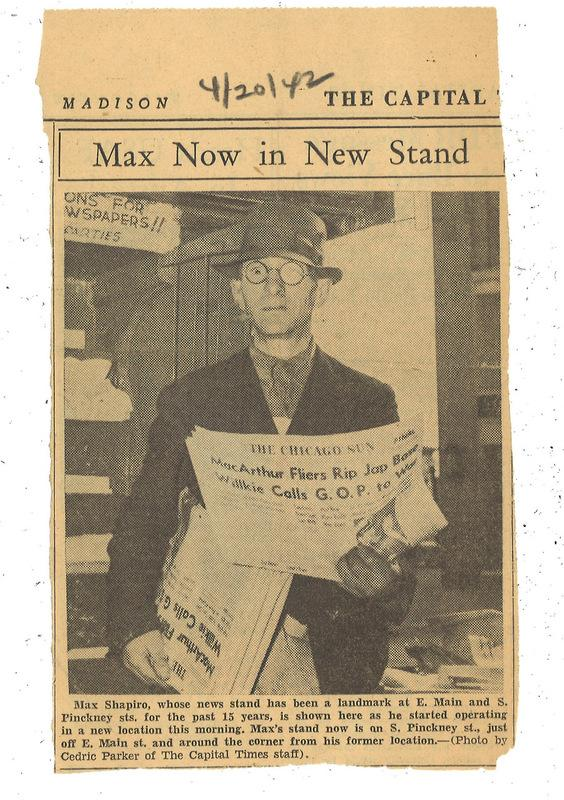 News clipping of Max Shapiro