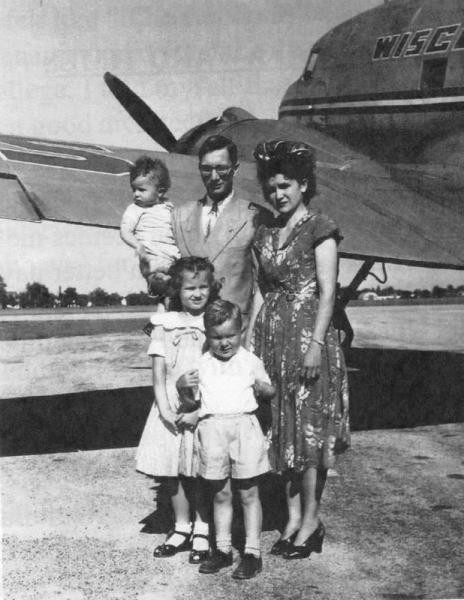 VandeBerg family at Oshkosh Airport, 1951