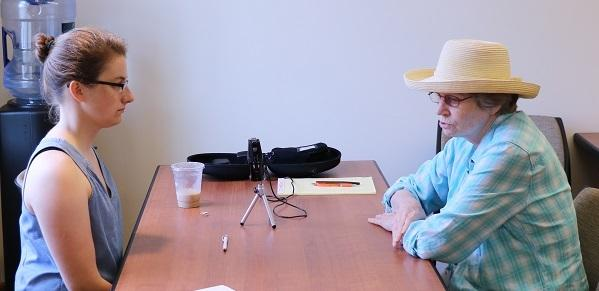 Photograph of Sally Dussere with interviewer