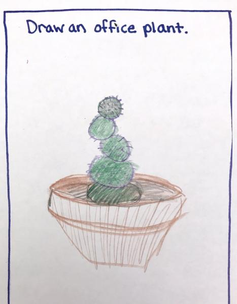 Cactus in brown pot, Municipal Restored, 2018