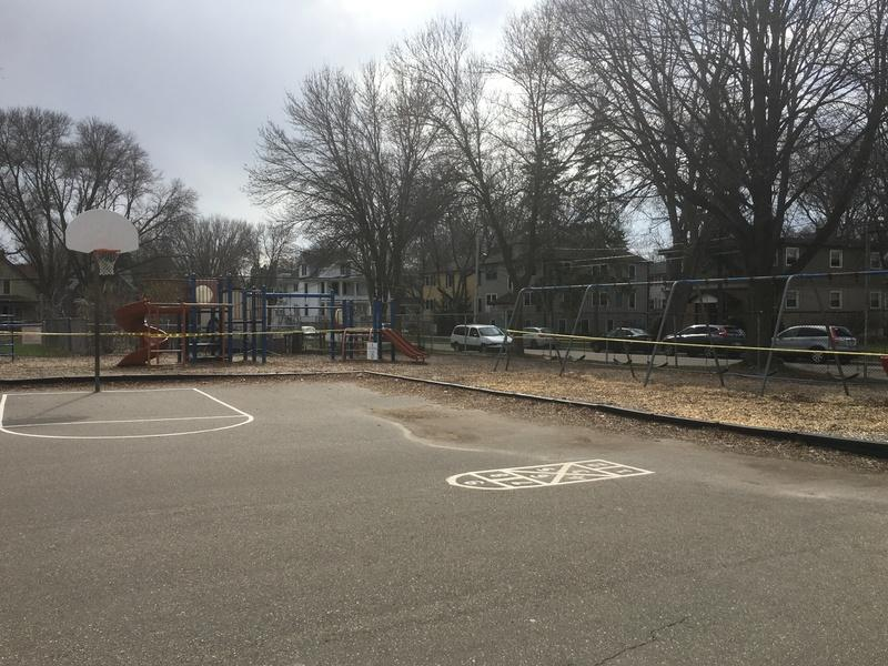 Lapham Elementary School playground closed due to Safer at Home order, 2020