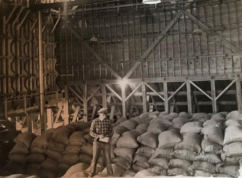 Mill foreman standing on feed bags