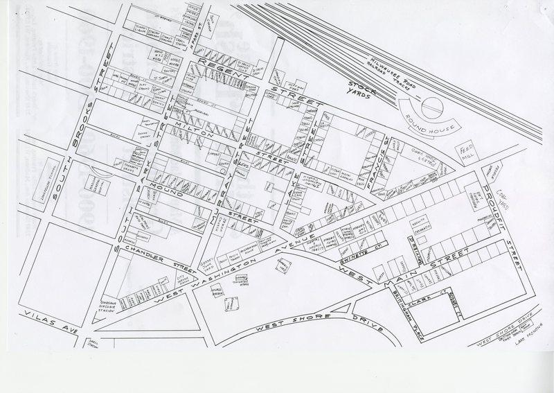 Hand-drawn map of Greenbush neighborhood