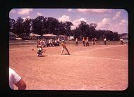 Summer ballgame at Midvale School, 1950s