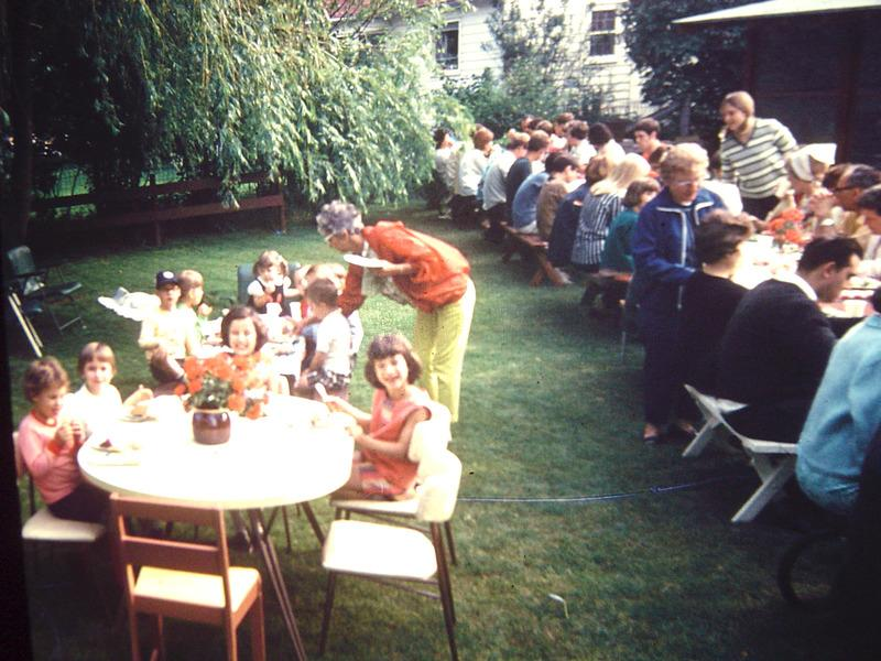 Cliften Drive block party kids table, ca. 1966