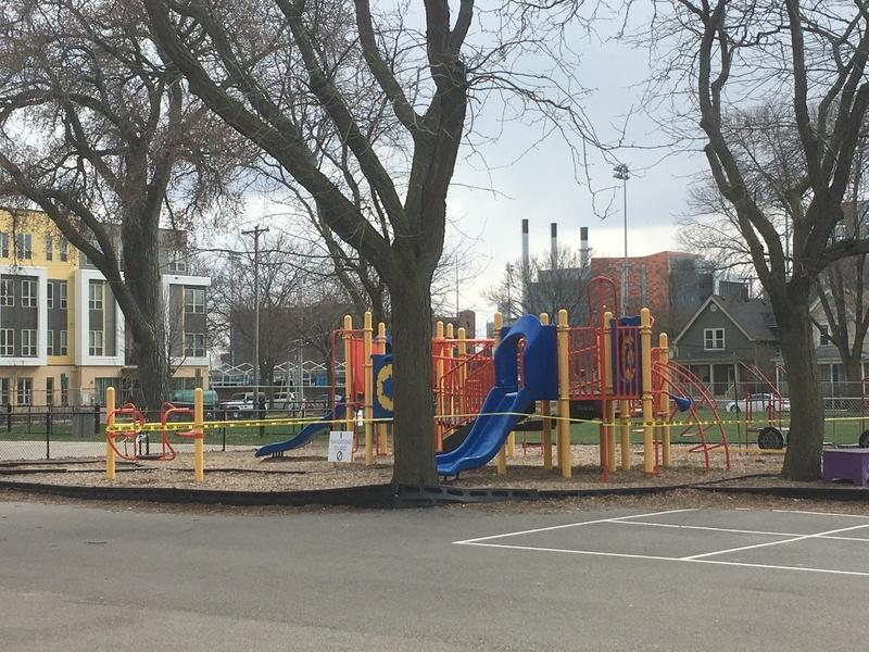 Lapham Elementary School playground closed due to Safer at Home, 2020